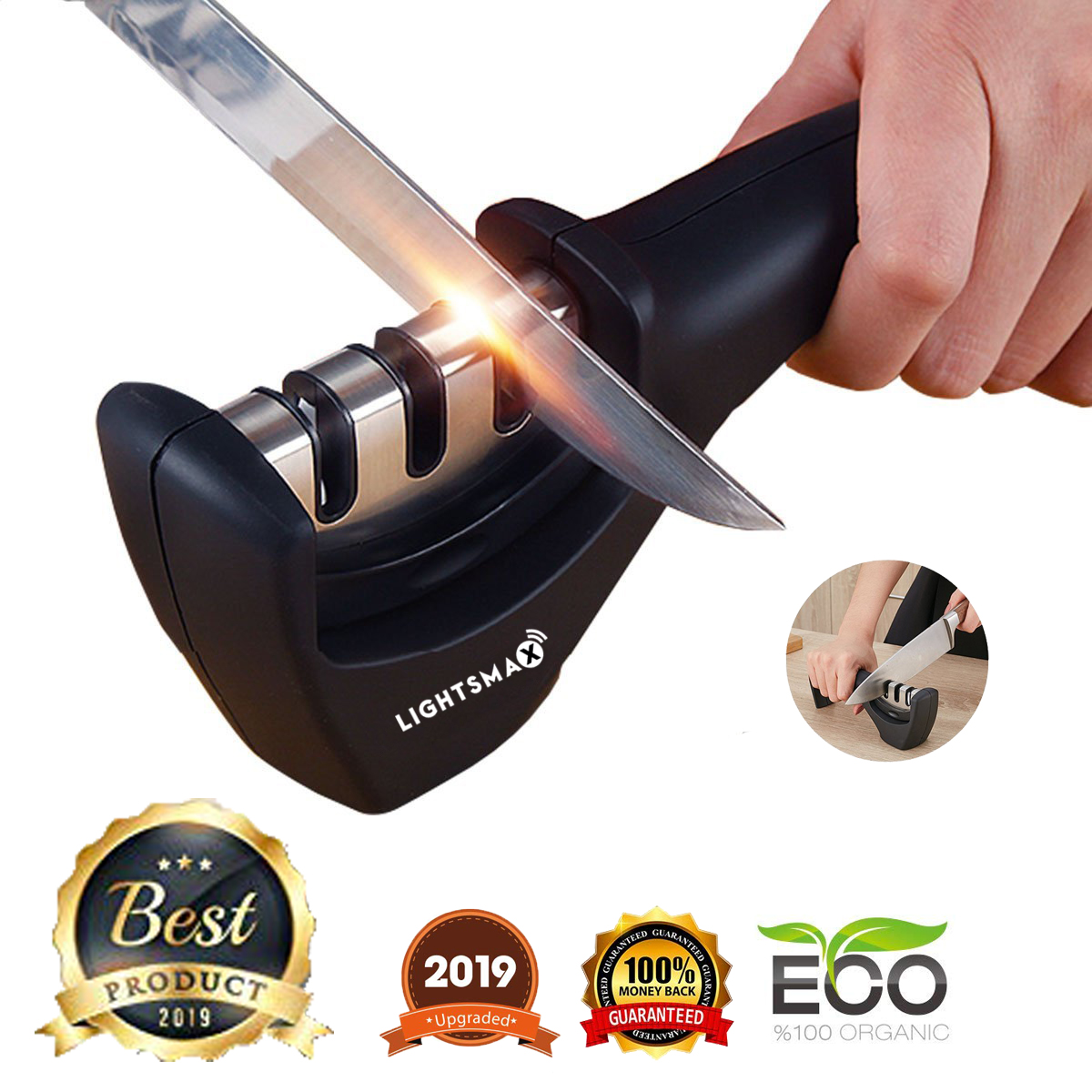 Kitchen Knife Sharpener - 3-Stage Knife Sharpening Tool Helps Repair, Restore and Polish Blades