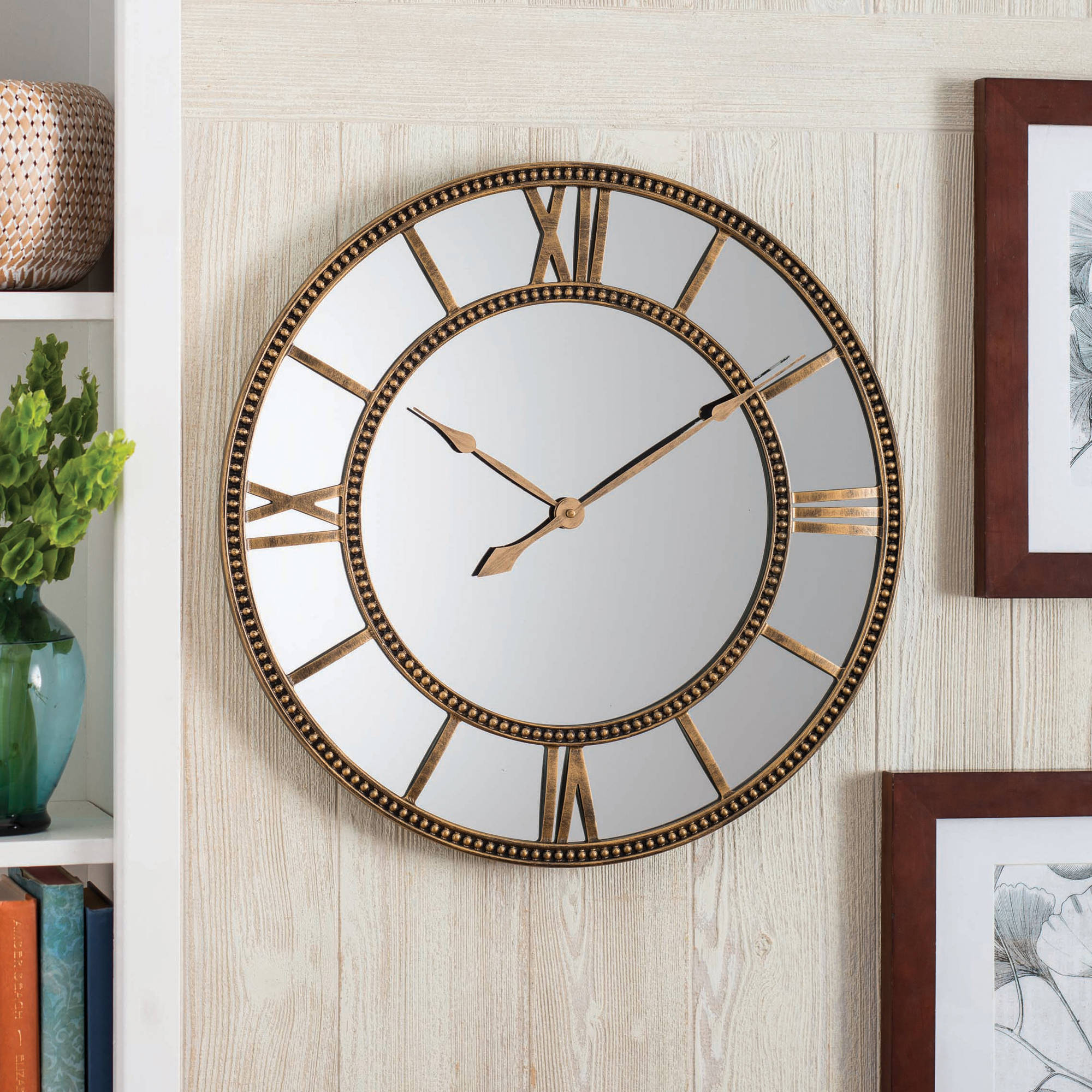 Better Homes and Gardens Mirror Clock, Distressed Gold