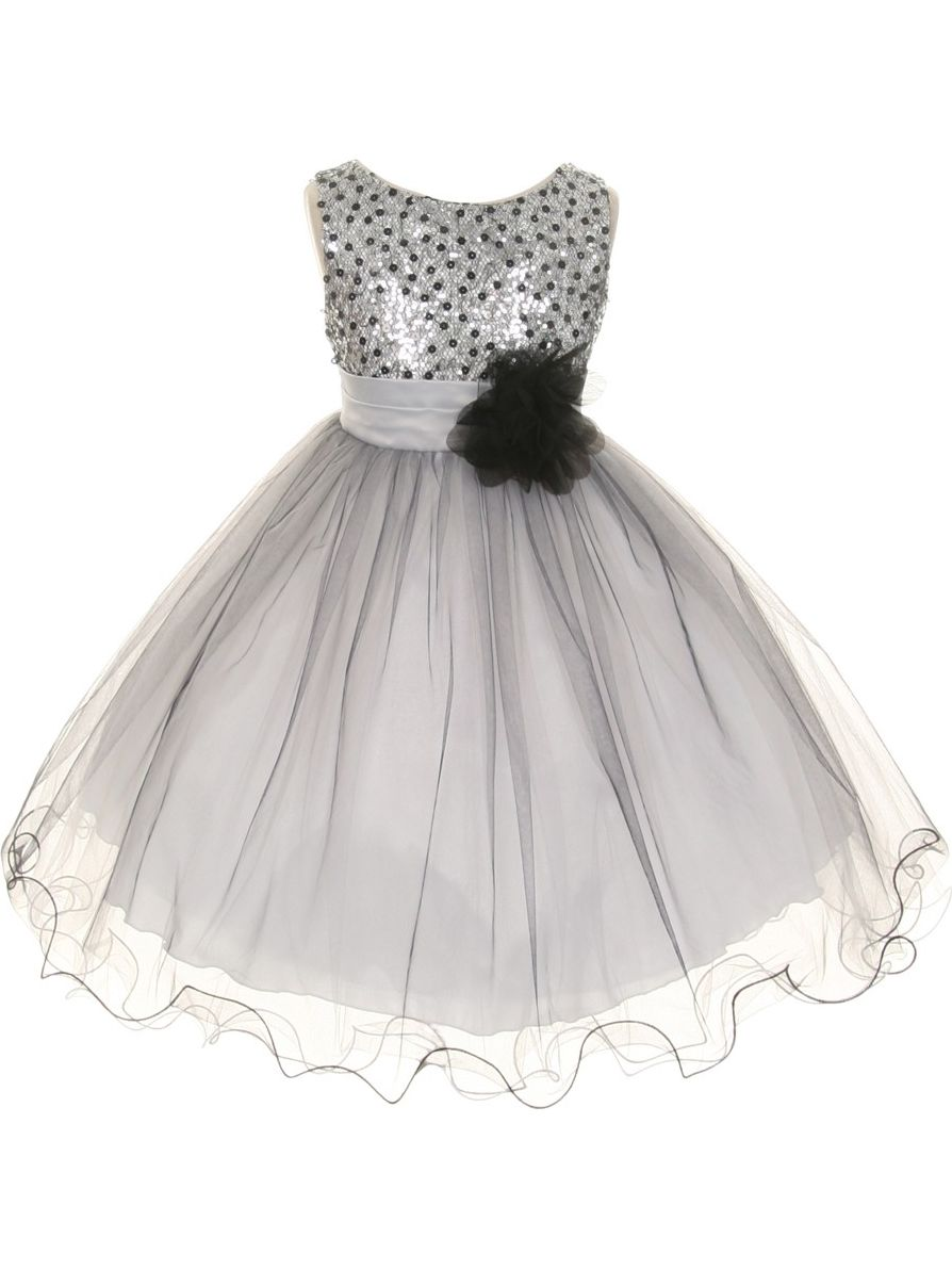 Kids Dream Little Girls Silver Multi Sequin Tulle Special Occasion Dress 2