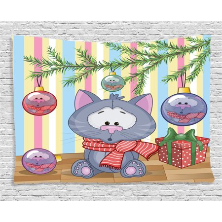 Gifts $25 And Under (Christmas Decorations Tapestry, Kitten with Scarf under Tree with Ball Decorations and Gift Box Cat Themed, Wall Hanging for Bedroom Living Room Dorm Decor, 60W X 40L Inches, Multi, by)