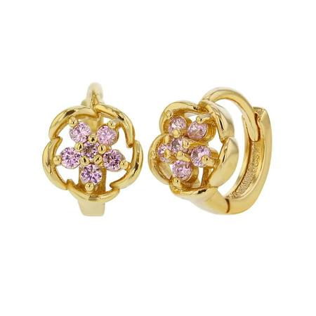 Pink Cube Crystal Earrings (18k Gold Plated Openwork Flower Small Hoop Huggie Pink Crystal Earrings 9mm)