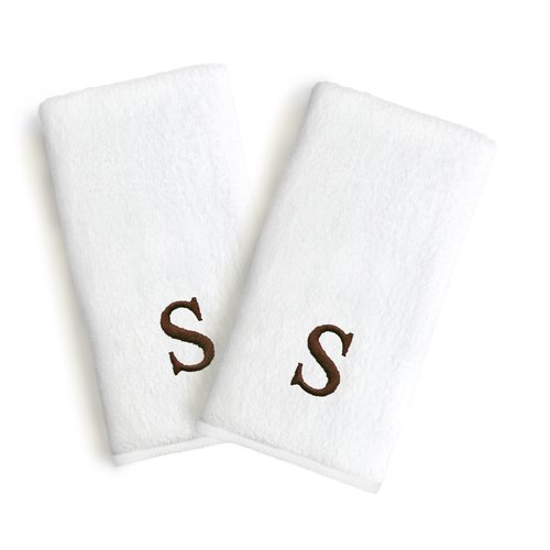 Linum Home Textiles Soft Twist Monogrammed Turkish Cotton Hand Towel (Set of 2)