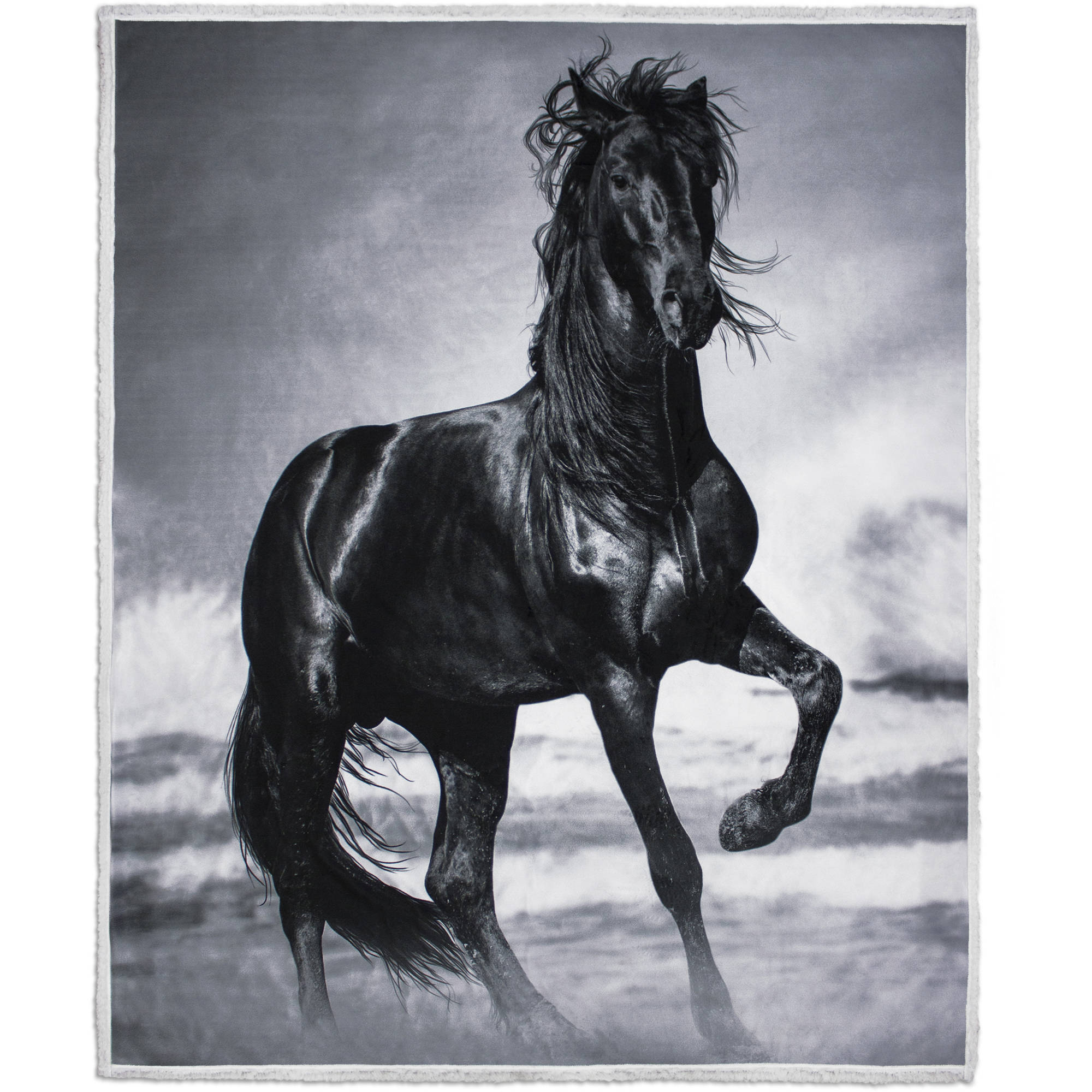 "Photoreal Horse Velvet Plush Throw with Sherpa Reverse, 50"" x 60"""