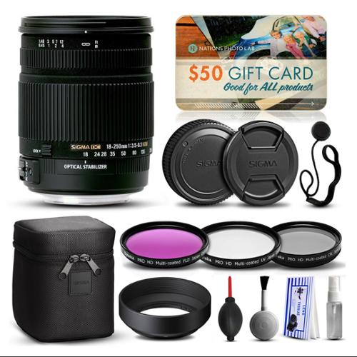 Sigma 18-250mm F3.5-6.3 DC OS HSM Lens for Nikon (880306) with Beginner Accessories Package includes 3 Piece Filter Set (UV-CPL-FLD) + Deluxe Cleaning Kit + Air Dust Blower + $50 Prints Gift Card