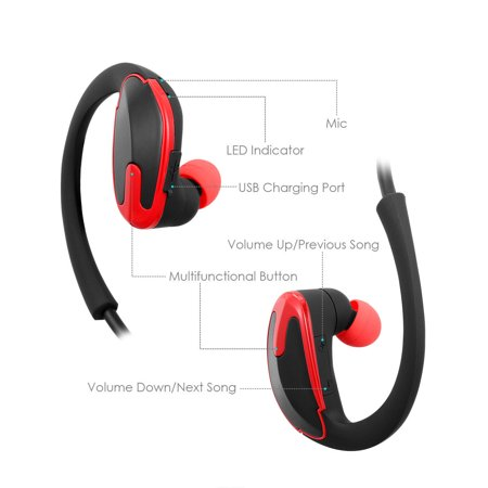 46918c363b1 Sweatproof Wireless Bluetooth V4.1 Headset CVC Noise Cancelling Stereo Headphones  Sport Running Earphones for iPhone Samsung Android - Walmart.com