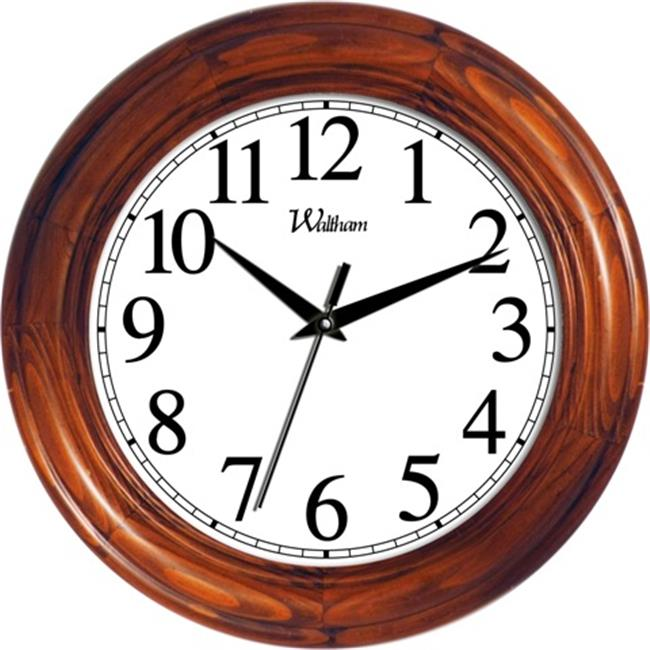 Ashton Sutton WAC806 Round Quartz Analog Wall Clock, Solid Wood Case with Cherry Finish