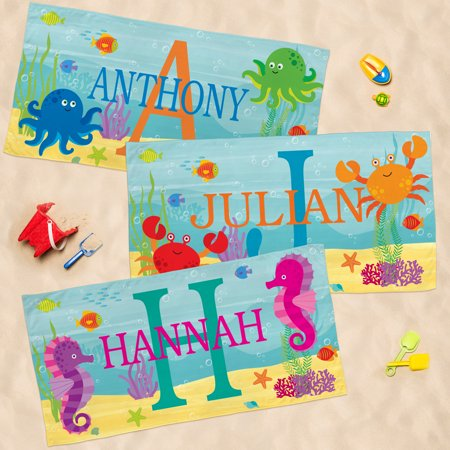 Personalized My Own Beachy Name Beach Towel - Crab-Available in 3