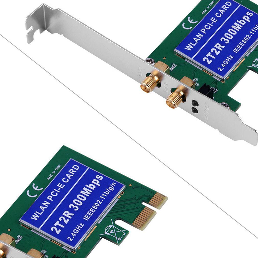 Wireless 300M Built-in Network PCI-1 Express Adapter Card 802.11B/G/N Antenna