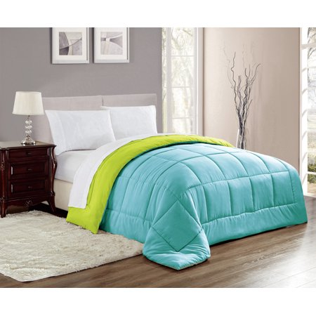 Chelsea Reversible Down Alternative Comforter in Blue/Lime, Full/Queen ()