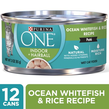 (12 Pack) Purina ONE Indoor, Natural, High Protein Pate Wet Cat Food, Indoor Advantage Ocean Whitefish & Rice, 3 oz. Pull-Top Cans