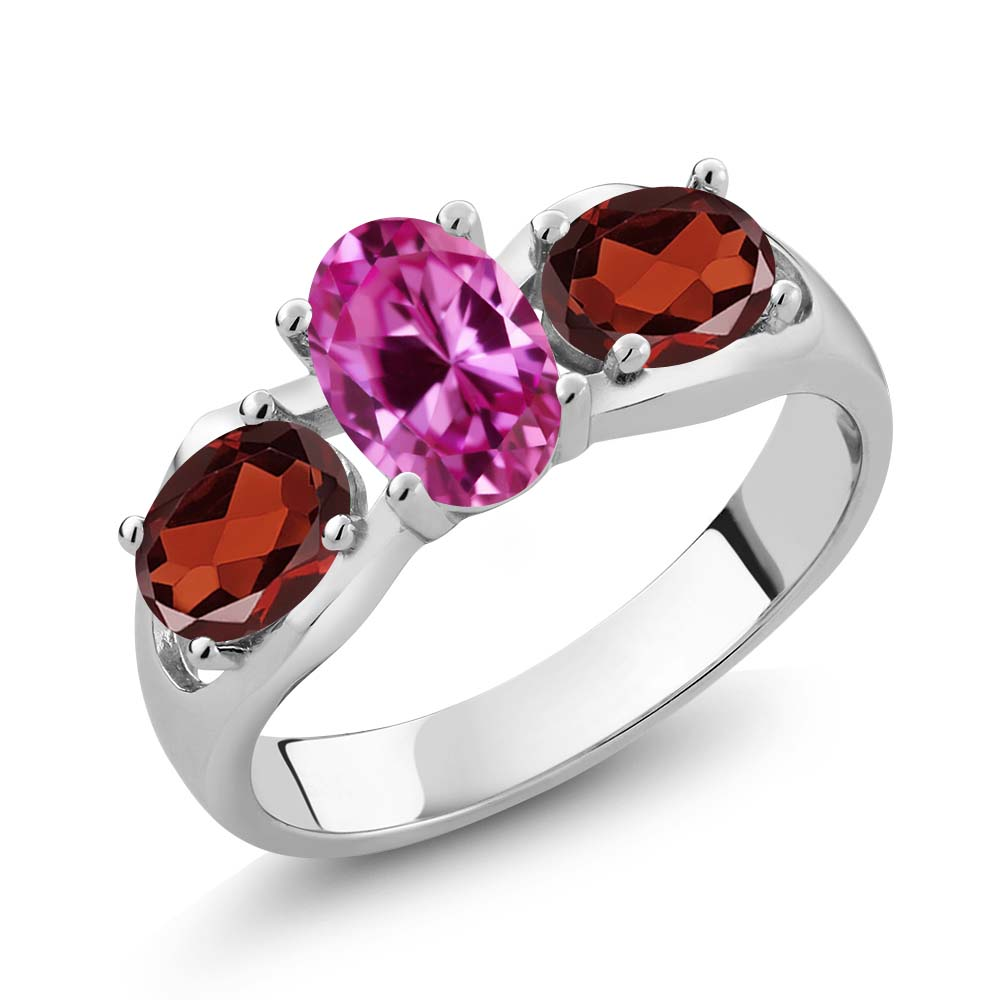 1.90 Ct Oval Pink Created Sapphire Red Garnet 18K White Gold Ring by