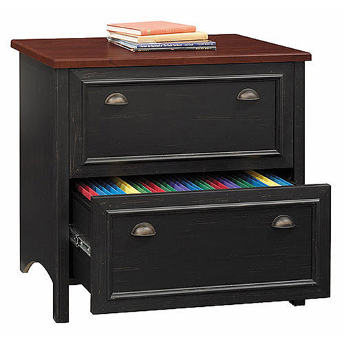 Black Antique Furniture bush stanford lateral file cabinet, antique black and cherry