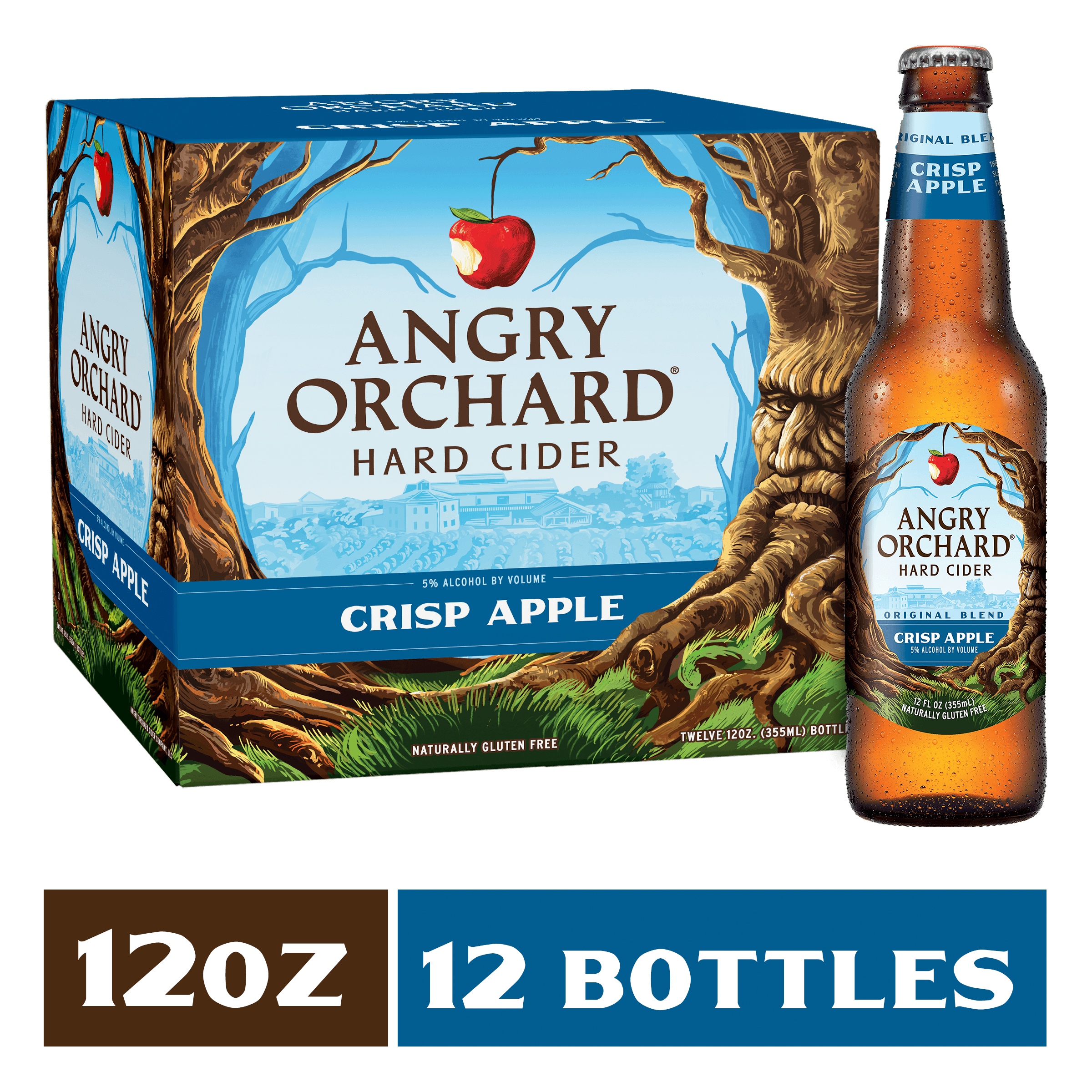 """Angry Orchard Hard Apple Cider Tap Handle 8/"""" /& Four 4 Angry Apple Glasses New FS"""