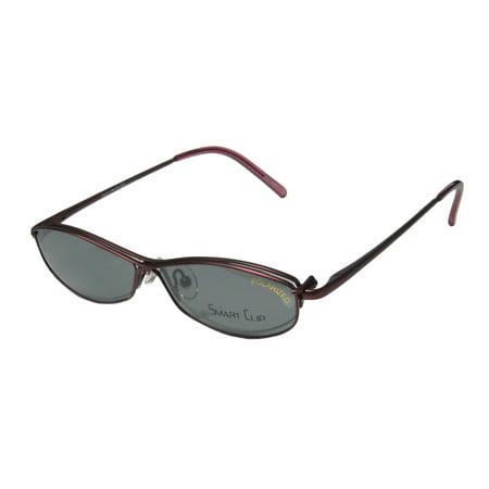 New Smartclip 430 Womens/Ladies Cat Eye Half-Rim Wine Sleek Cat Eye Polarized Clip-on Lenses Frame Demo Lenses 50-14-135 Sunglass Lens Clip-Ons Flexible Hinges Eyeglasses/Eyeglass (Custom Cut Sunglass Lenses)