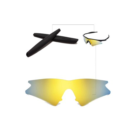 Walleva 24K Gold Polarized Lenses And Black Earsocks For Oakley M ...