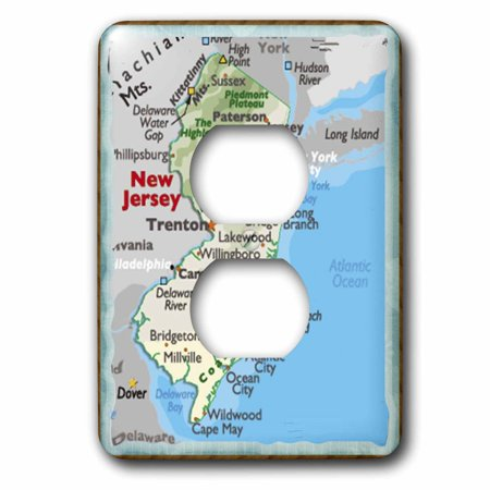 3dRose Framed Map Of New Jersey - 2 Plug Outlet Cover (New Jersey Outlets Stores)