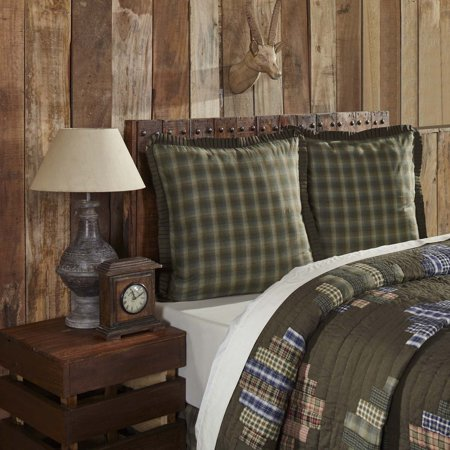 Chocolate Brown Rustic & Lodge Bedding Seneca Cotton Chambray Plaid Euro Sham ()