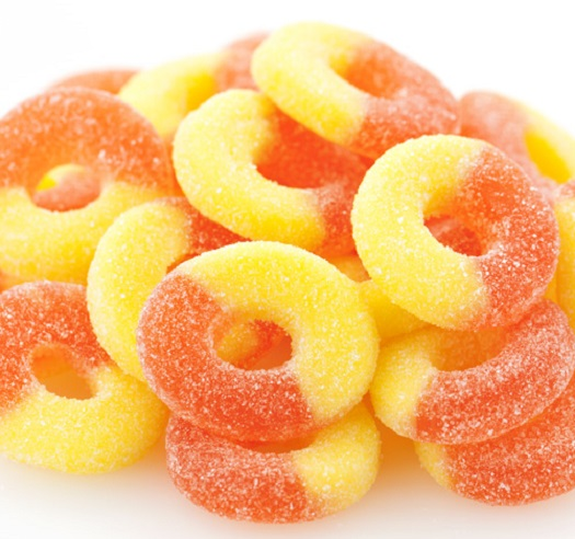 Gummi Peach Rings 1 pound bulk gummy candy gummy rings
