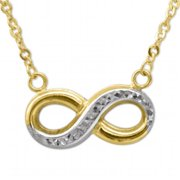 Precious Stars TBJNK147 14k Two-tone Gold Diamond-cut Floating Infinity Charm Necklace