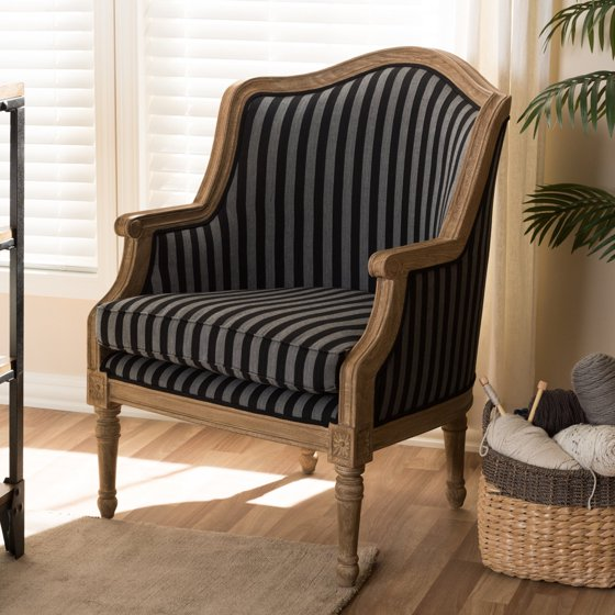Superb Baxton Studio Charlemagne Traditional French Accent Chair Oak With Blue Stripe Pabps2019 Chair Design Images Pabps2019Com