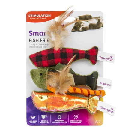 (2 Pack) SmartyKat Fish Friend Crinkle and Catnip Cat Toy, 3 Count