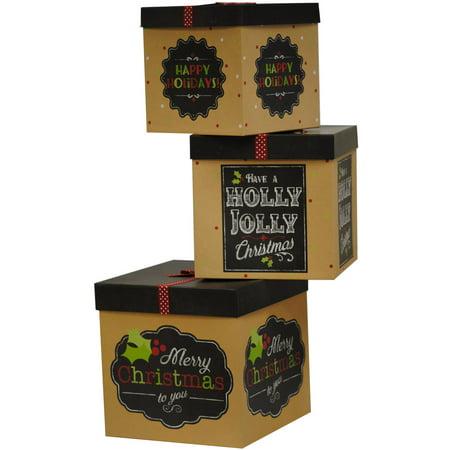 Chalkboard Bin (Holiday Time 3-Pack Large Cube Chalkboard and Ribbon Box)