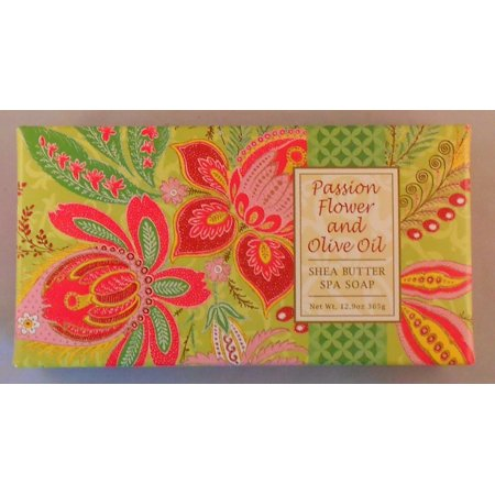 - Greenwich Bay PASSION FLOWER Shea Butter Spa Soap, Box Set of 3 Bars, 4.3oz Each