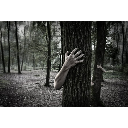 Canvas Print Zombies Trunk Creepy Horror Scary Forest Hands Stretched Canvas 10 x 14 - Zombie Hand