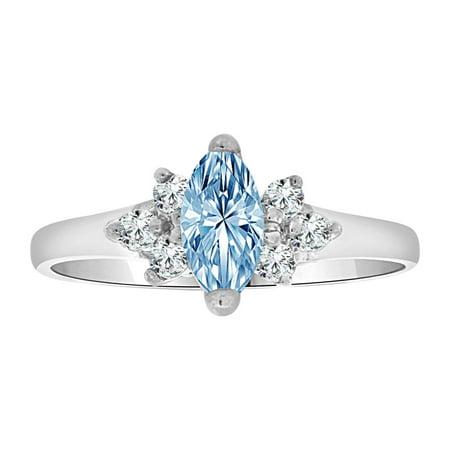 Sterling Silver White Rhodium, Dainty Marquise Shape Ring Aqua CZ Crystals Mar Created Birthstones