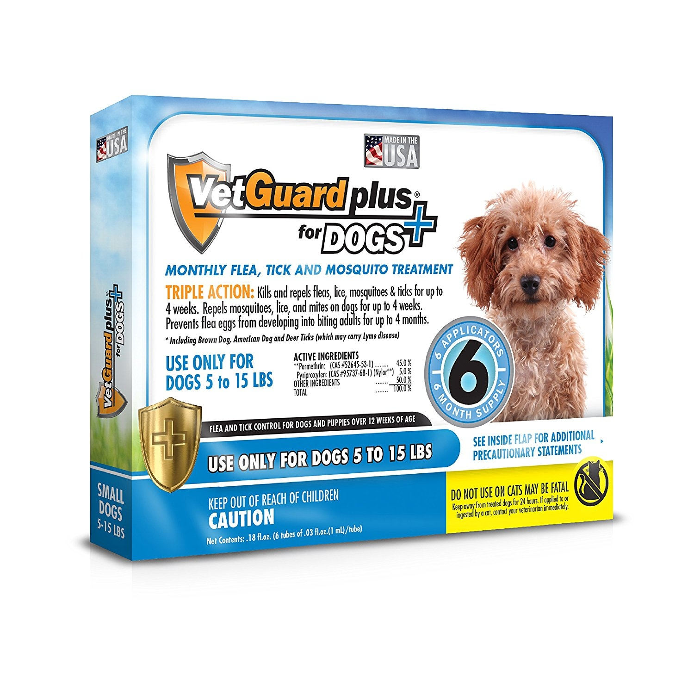 VetGuard Plus Flea & Tick Treatment for Small Dogs, 5-15 ...