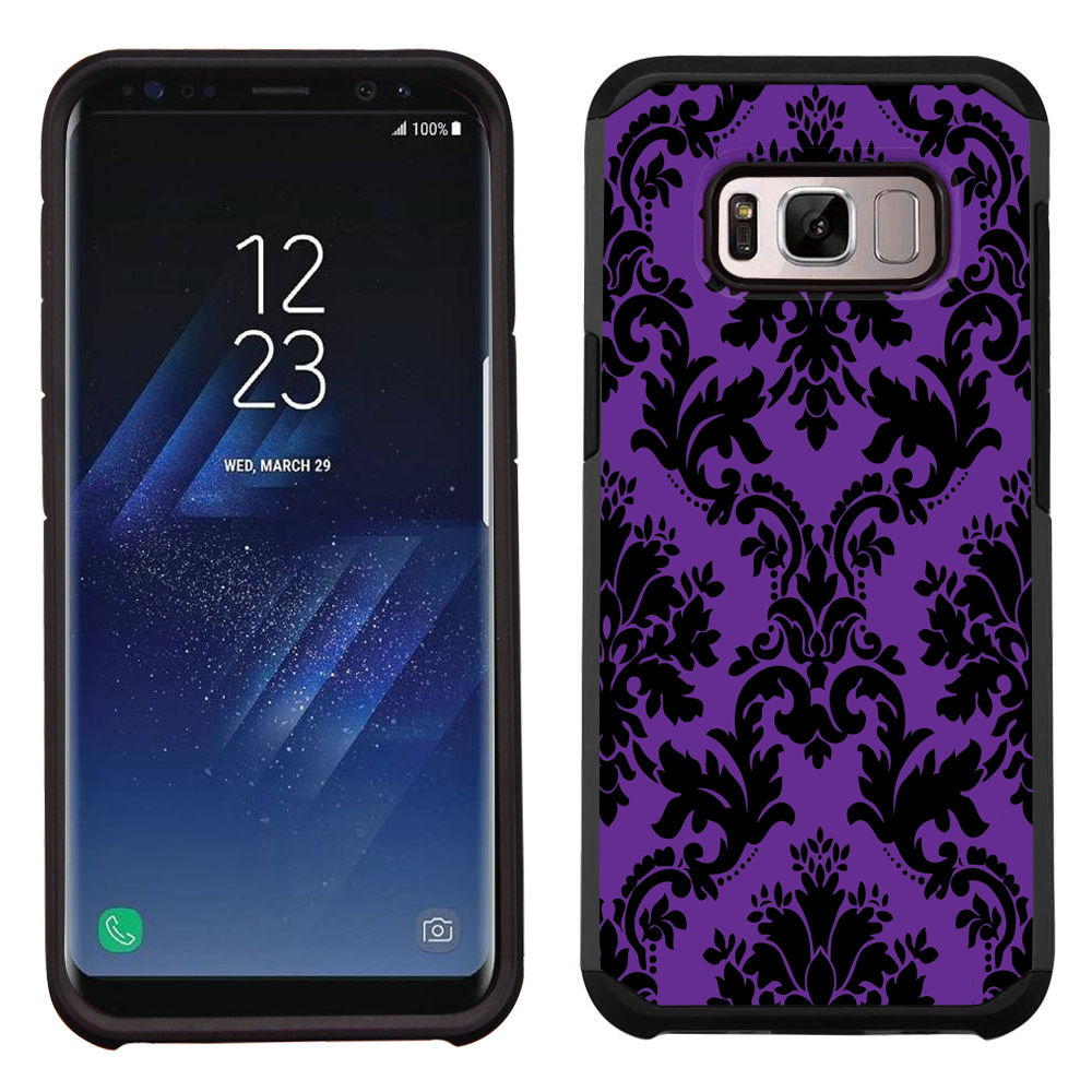 Hybrid Case for Samsung Galaxy S8 PLUS / S8+, OneToughShield ® Dual Layer Shock Absorbing Phone Case (Black/Black) - Victorian Purple/Black
