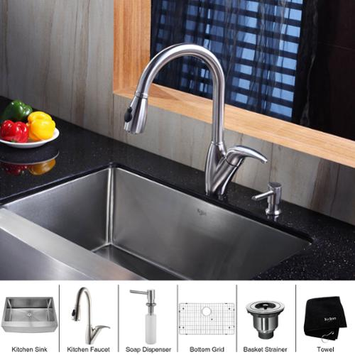 kitchen sink and faucet combinations kraus kitchen combo set stainless steel farmhouse sink 24896