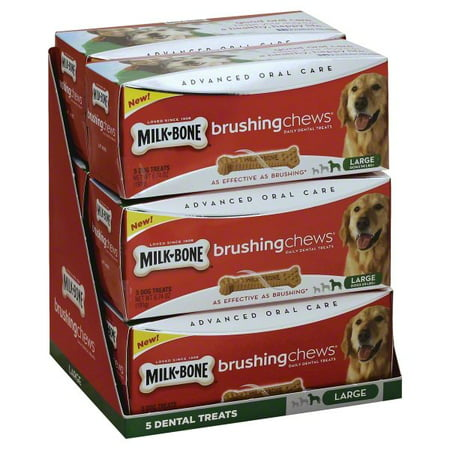 Milk-Bone Brushing Chews Daily Dental Dog Treats, Large, 6.74 Oz., 5 Bones Per