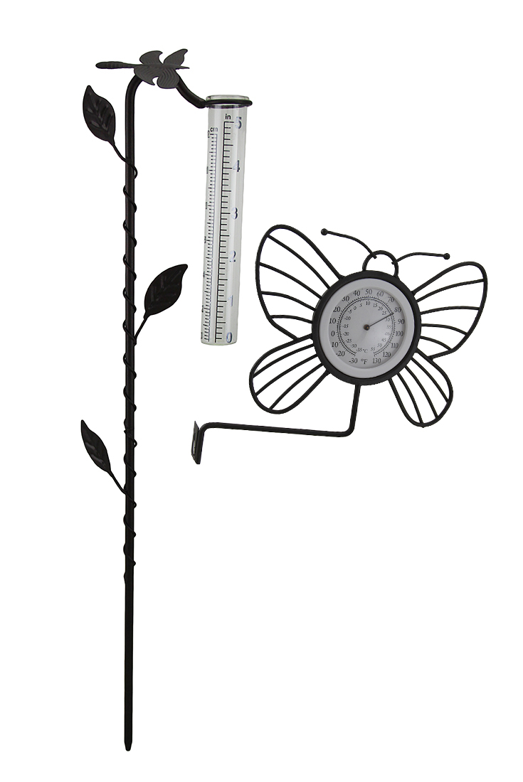 2 Piece Hanging Butterfly Thermometer & Dragonfly Rain Gauge Garden Stake Set by GREAT DISCOUNTERS