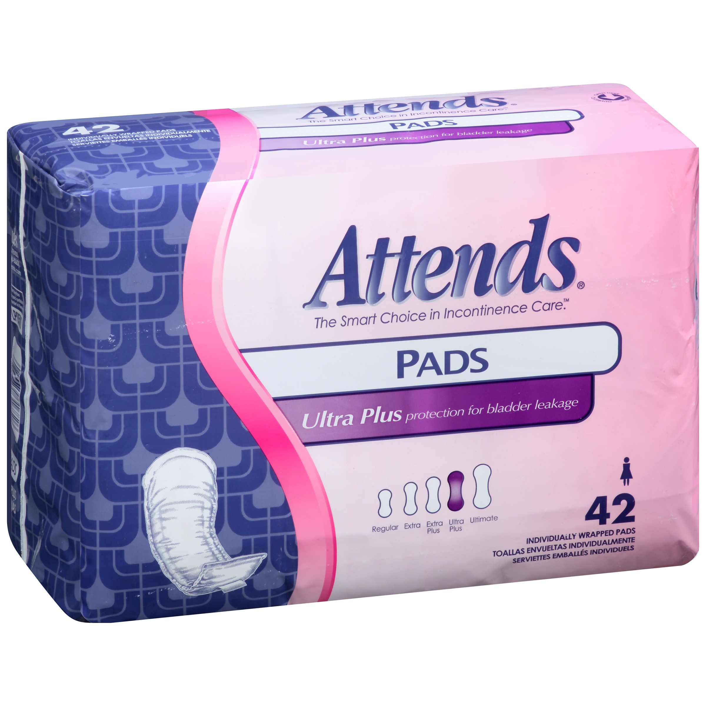 LP0500 Attends® Ultra Plus, Individually Wrapped Pads, 42 Count