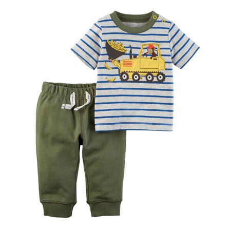 Carters Infant Construction Worker Monkey Boys Baby Outfit T Shirt & Jogger Set