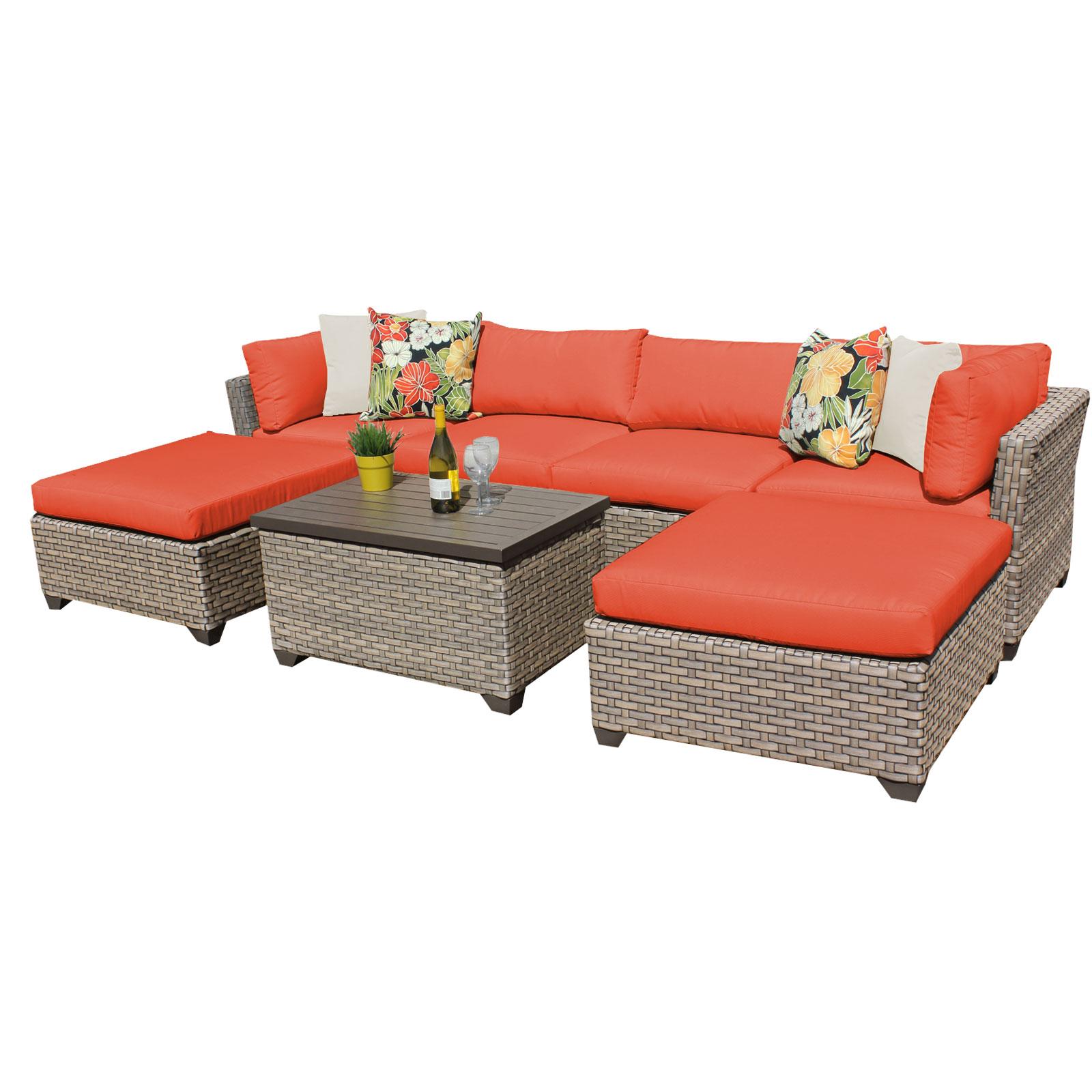 Hampton 7 Piece Outdoor Wicker Patio Furniture Set 07b