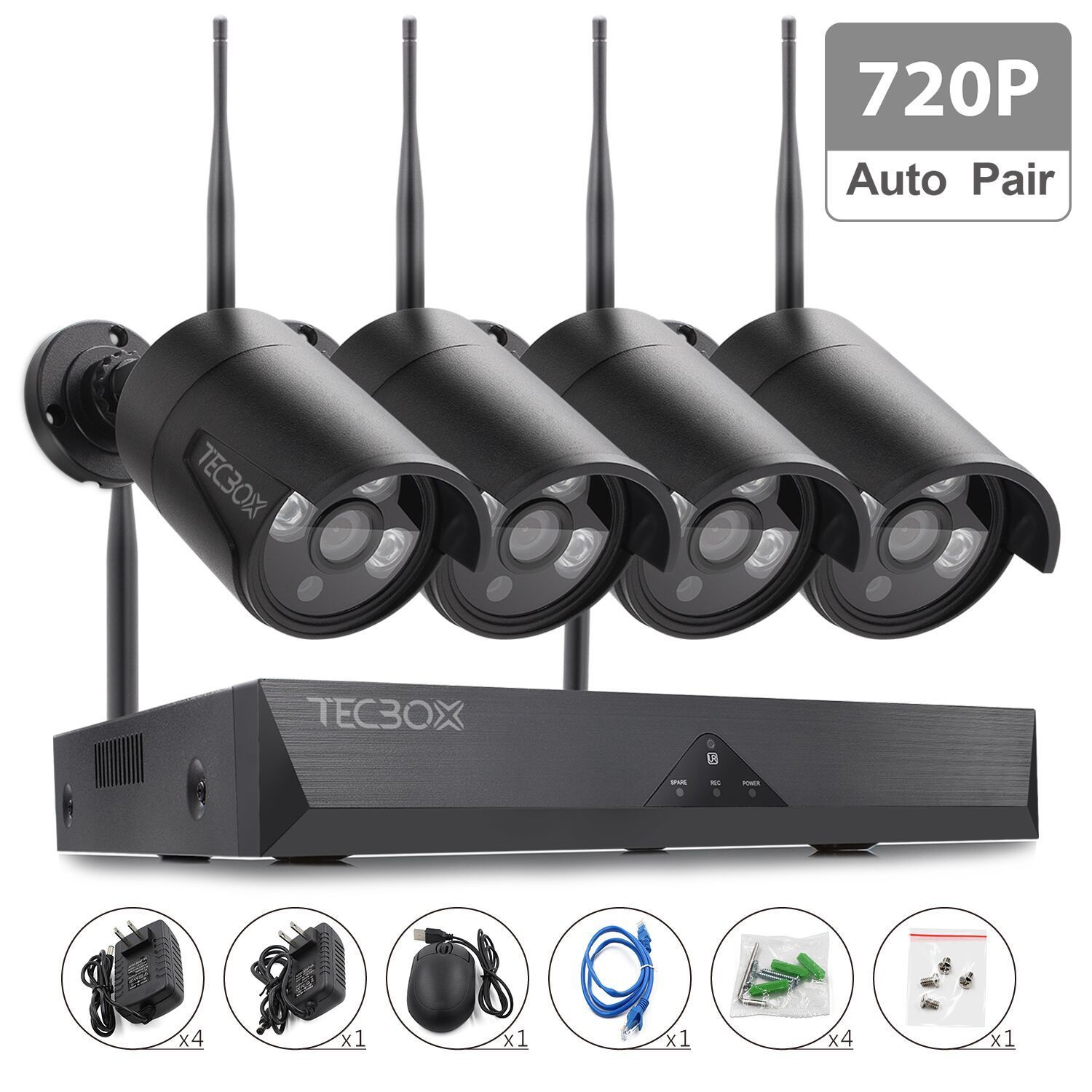 TECBOX 4CH Wireless Security Camera System 720P HDMI NVR, 4 x 720P HD Indoor/Outdoor Wireless Cameras Night Vision No Video Cable Wifi Security Camera