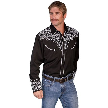 Scully Western Shirt Men L/S Pearl Snap Embroidered Scroll P-815