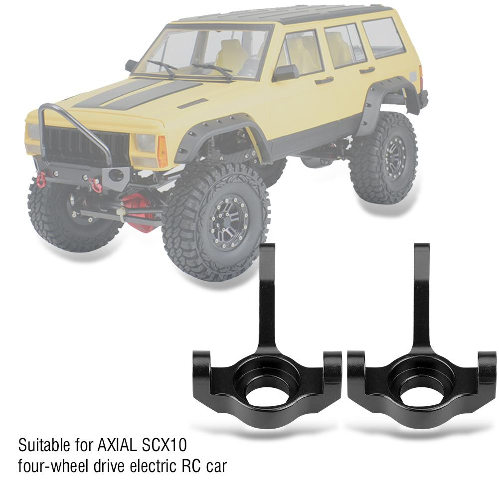 Aluminum Steering Knuckle RC Upgrade Spare Part Aluminium Alloy Steering Knuckle Carrier Compatible with AXIAL SCX10 Four-Wheel Drive Car Black