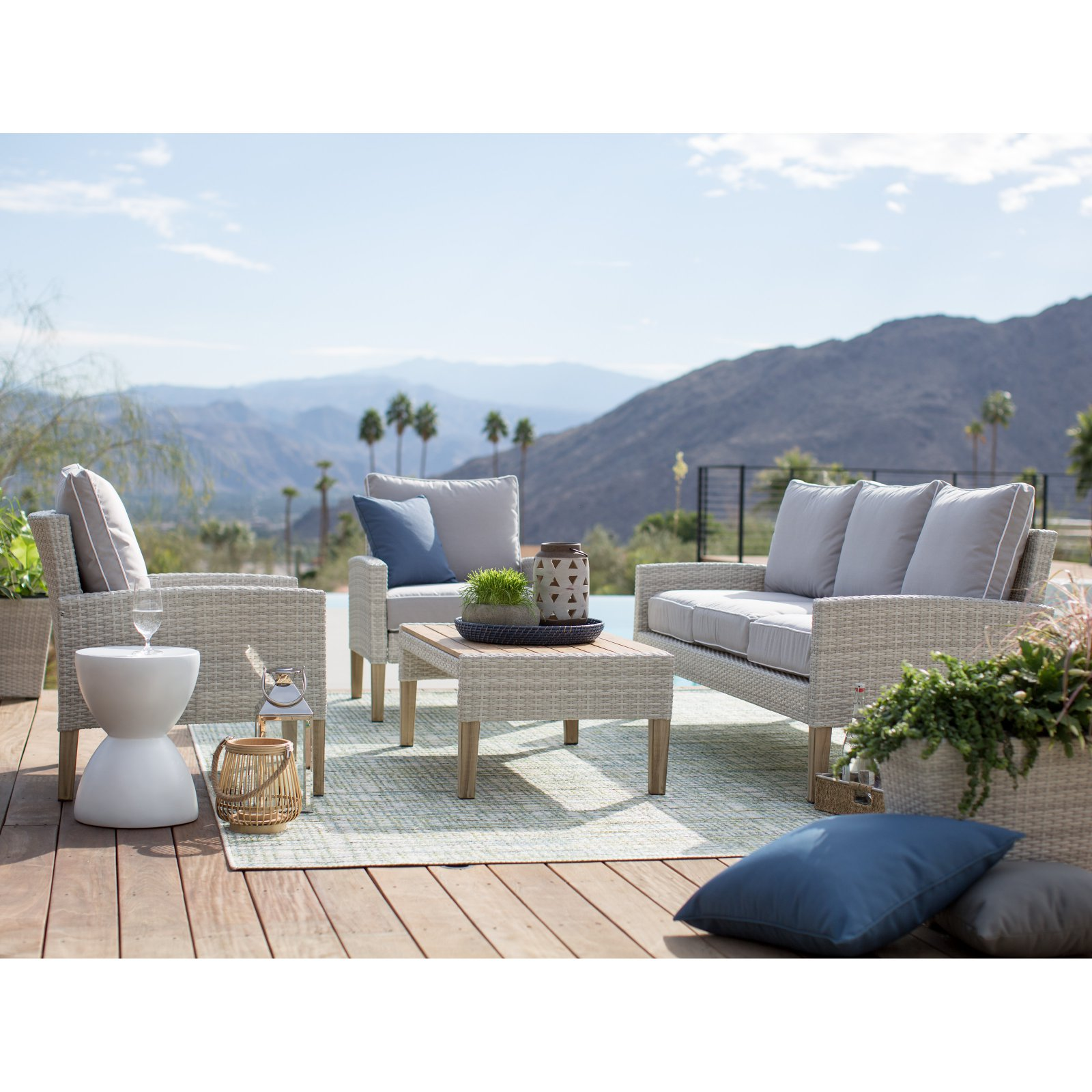 Belham Living Clermont All Weather Wicker 4 Piece Patio Conversation Set