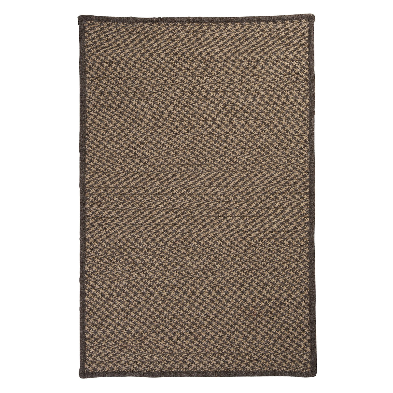 Colonial Mills HD34R Natural Wool Houndstooth Braided Rug - Caramel