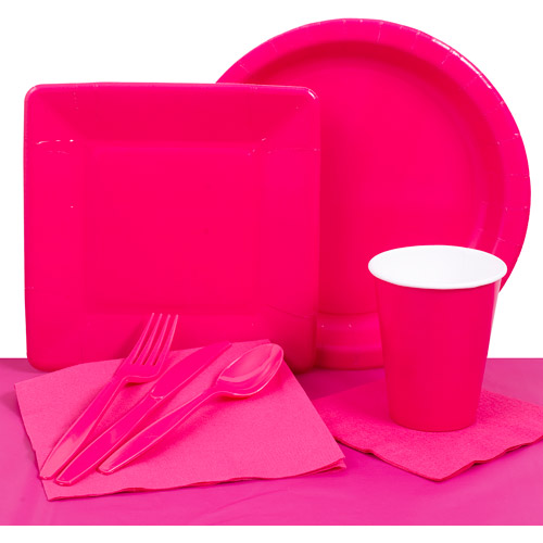 Hot Solid Color Plastic Tableware Set, Hot Pink