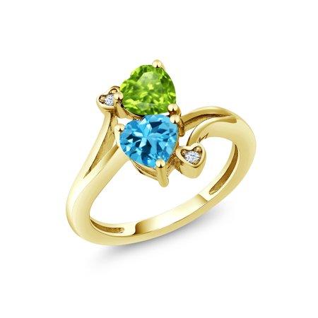 1.81 Ct Green Peridot Swiss Blue Topaz 18K Yellow Gold Plated Silver Ring