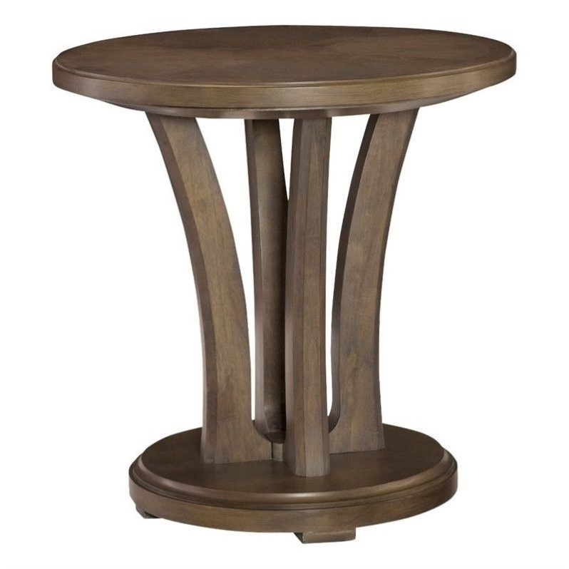 American Drew Park Studio Round Wood Lamp Table in Taupe by American Drew