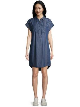 EV1 from Ellen DeGeneres Short Sleeve Shirtdress Women's (Dark Wash)