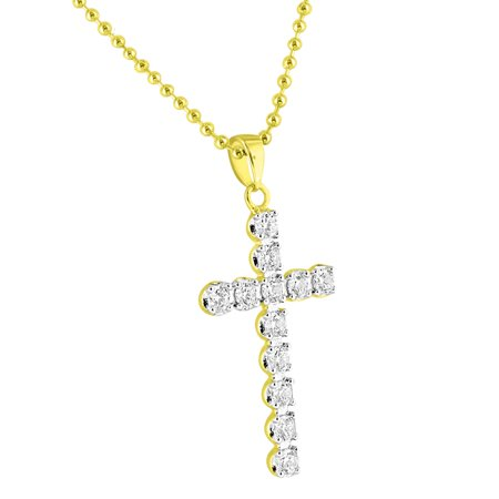 Solitaire 1 Row Cross Pendant 14K Gold Finish Over Sterling Silver Bead Chain Classy