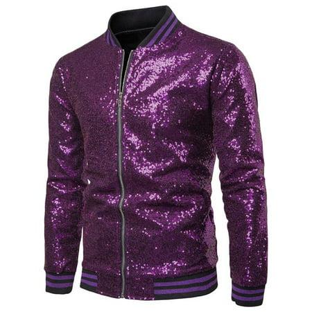 Mens Sequin Jacket Metallic Christmas Nightclub Disco Styles Zip Up Varsity Baseball Bomber Jacket Mens Disco Jacket
