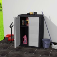 Mgaxyff Garden Storage Cabinet with 1 Shelf Black and Gray