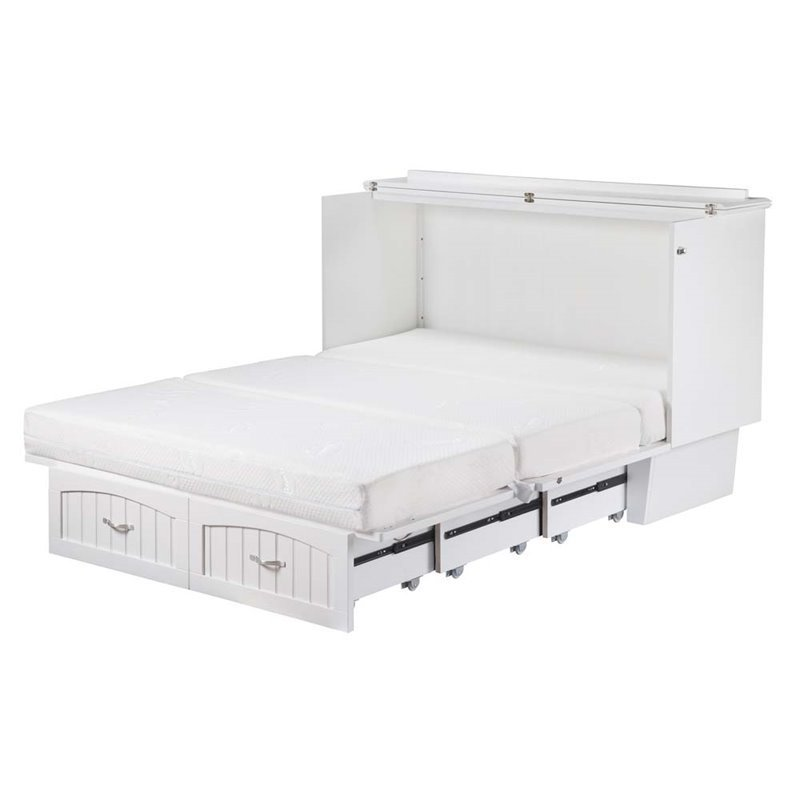 Superbe Leo U0026 Lacey Queen Murphy Bed Chest In White